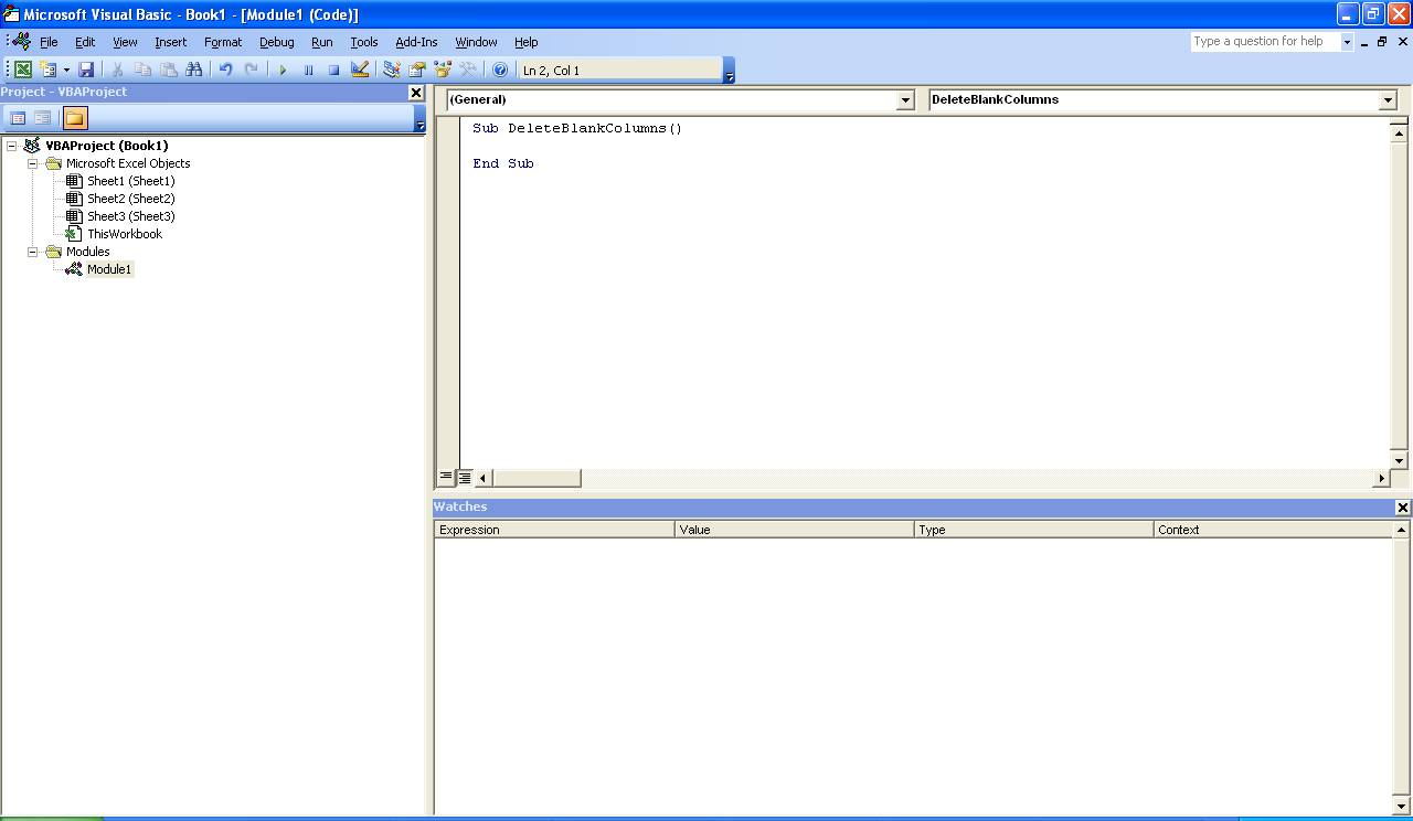Excel Macro To Delete Blank Columns